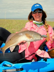 Jerry also took Melissa Macarages out for a kayak photo shoot and she nailed this fine redfish outside of Rocky Creek.