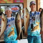 Mabry Stewart and Chase Norwood with the first and third place redfish at the Rescues event.
