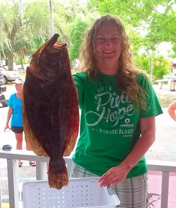 Jennifer Mosley took a first place with this giant flounder.