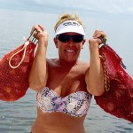 Debra Colwell with a whole bunch of scallops…..