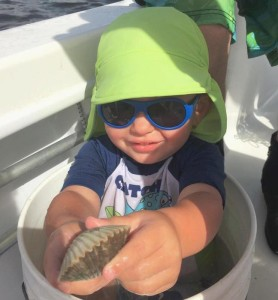 Hunter Keen served as boat boy on his first scallop trip.