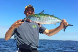 Daniel Colwell from Murphy, NC came all the way down to find this bonito crashing bait pods.