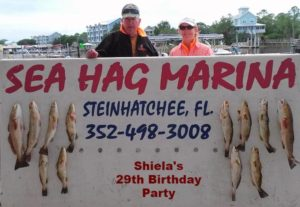 Sea Hag regulars and airboat masters Bill and Shiela Rees celebrated her birthday with this beautiful limit of trout and redfish.