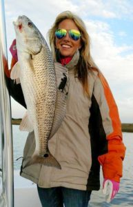 Claudia Sauls found this overslot redfish on a chilly morning.