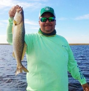 Jesus Lopez with a nice trout from the flats.